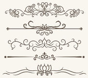 Vector set of decorative elements,  frame and line vintage style. Free hand Stock Photos
