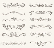 Vector set of decorative elements,  frame and line vintage style. Free hand Stock Images