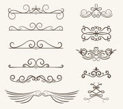 Vector set of decorative elements,  frame and line vintage style. Free hand Royalty Free Stock Images