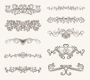 Vector set of decorative elements,  frame and line vintage style. Free hand Royalty Free Stock Image