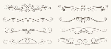Vector set of decorative elements,  frame and line vintage style. Free hand Stock Image