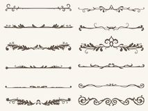 Vector set of decorative elements,  frame and line vintage style. Drawing vector illustration Stock Images