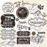 Vector set of decorative elements and labels in retro style Stock Photos