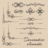 Vector set of decorative elements and page decor Royalty Free Stock Photo