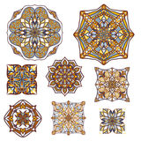 Vector set of decorative elements in vintage ornamental style. Ethnic oriental ornaments collection Stock Image