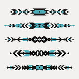 Vector set of decorative ethnic borders with american indian motifs. Boho style. Tribal design elements Royalty Free Stock Photography