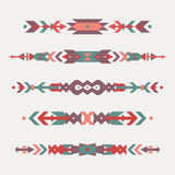 Vector set of decorative ethnic borders with american indian motifs. Boho style. Tribal design elements Stock Photo