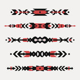 Vector set of decorative ethnic borders with american indian motifs. Boho style. Tribal design elements Royalty Free Stock Images