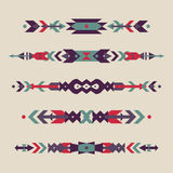 Vector set of decorative ethnic borders with american indian motifs. Boho style. Tribal design elements Royalty Free Stock Photo