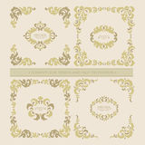 Vector set  decorative floral elements, frame Royalty Free Stock Image