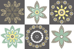 Vector set of decorative flowers. Set of 6 beautiful and colorful vector decorative flowers for your designs. Vector Image Royalty Free Stock Photos