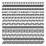 Collection of pattern brushes for frames. Seamless borders in ethnic style. Aztec tribal ornaments. royalty free illustration