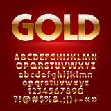 Vector set of decorative gold letters, symbols and numbers Royalty Free Stock Photography