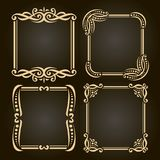 Vector set of decorative golden frames. On dark, simple decoration with flourishes for wedding invitation, 4 square vintage borders with curls and dots Stock Photography