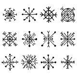 Vector set of decorative hand drawn snow flakes. Black and white seasonal winter signs, symbols and icons, isolated on the white. Graphic vector illustration Royalty Free Stock Photos