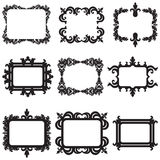 Vector set of decorative horizontal elements,. Vector set of baroque frame silhouettes isolated on white background Stock Photography