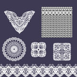 Vector set of decorative lace elements for design and fashion in ethnic indian style. Neckline, seamless, border and patterns Royalty Free Stock Images
