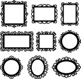 Vector set of decorative ornamental frame silhouettes Royalty Free Stock Photo