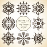 Vector set of decorative ornamental snowflake. Vector set of vintage decorative ornamental snowflake Royalty Free Stock Images