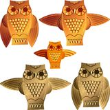 Vector Set decorative owls Stock Image