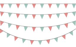 Vector set of decorative party pennants with different sizes and lengths. Celebrate flags. Rainbow garland. Birthday decoration. vector illustration