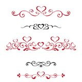 Vector set Decorative vignettes with hearts, vintage borders. Re Royalty Free Stock Photography