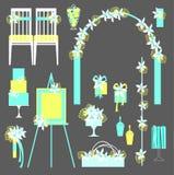 Vector set of decorative wedding elements. Royalty Free Stock Photo