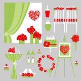 Vector set of decorative wedding elements. Stock Image
