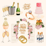 Vector set of decorative wedding elements in vintage style Stock Photography
