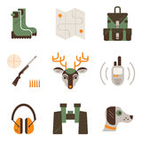 Vector set of deer hunt symbols. Hunting, shooting gear icons. Modern flat set isolated on white background. Royalty Free Stock Image