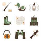 Vector set of deer hunt symbols. Royalty Free Stock Images