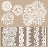 Vector set of 4 delicate knitted lace and 5 seamless borders royalty free illustration