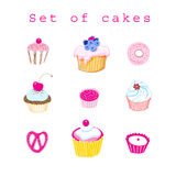 Vector set of delicious cakes. On white background Stock Photo