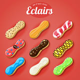 Vector set of the delicious eclairs Stock Photography