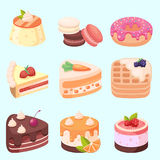 Vector - Set of delicious sweets and desserts cartoon icons Royalty Free Stock Image