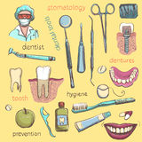 Vector Set. Dentist and Tooth Care Icons Royalty Free Stock Images