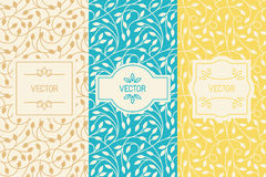 Vector set of design elements, borders and frames, seamless patt. Erns for natural cosmetics or beauty product packaging - abstract backgrounds with flowers and vector illustration