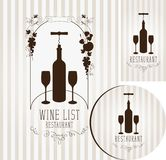 Wine set of elements for design of restaurant Royalty Free Stock Images