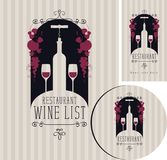 Wine set of elements for design of restaurant Stock Photography