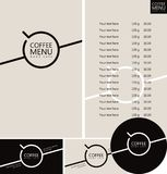 Vector set of design elements for coffee house. Coffee menu, price list, business cards and coasters for drinks Royalty Free Stock Photography