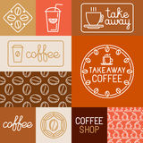 Vector set of design elements for coffee houses and shops Royalty Free Stock Photo