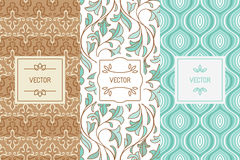 Vector set of design elements for cosmetic and beauty product pa. Vector set of design elements, seamless patterns and label templates for cosmetic and beauty Royalty Free Stock Image
