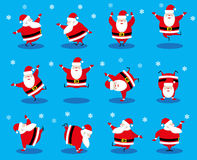 Vector set design elements funny dancing Santa Claus different character isolated on blue background Royalty Free Stock Images