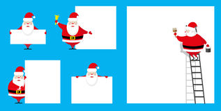 Vector set design elements funny Santa Claus different character as painter and showman isolated on blue background. Vector set design elements funny and cute Stock Images