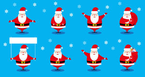 Vector set design elements funny Santa Claus different character isolated on blue background Royalty Free Stock Photo