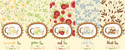 Vector set of design elements and icons in trendy doodle style for tea package - chamomile, red, white, black and green tea. Royalty Free Stock Photos