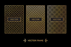 Vector set of design elements, labels. And frames for packaging for luxury products in trendy linear style - simple and bright background made with golden foil Stock Photography