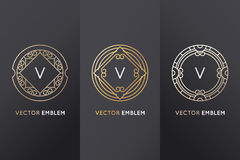 Vector set of design elements and labels. Vector set of design elements, labels and frames for packaging for luxury products in trendy linear style - simple and Royalty Free Stock Photography