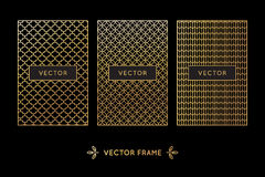 Vector set of design elements, labels and frames. For packaging for luxury products in trendy linear style - simple and bright background made with golden foil Royalty Free Stock Photo