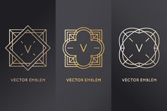 Vector set of design elements, labels and frames. For packaging for luxury products in trendy linear style - simple and bright background made with golden foil Stock Photo